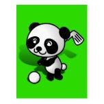 Cute Cartoon Baby Panda Bear Golfing Postcard