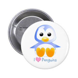 Cute Cartoon Baby Penguin in Blue 2 Inch Round Button