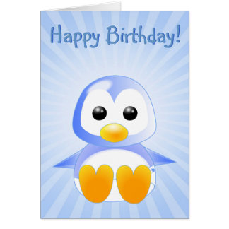 Cute Cartoon Baby Penguin in Blue Greeting Card