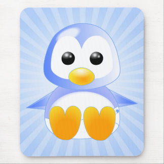 Cute Cartoon Baby Penguin in Blue Mouse Pad