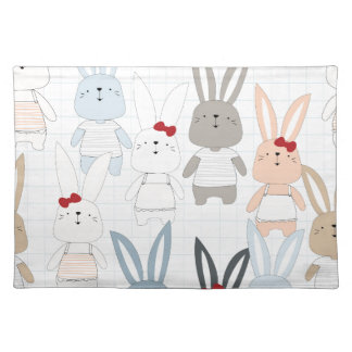 Cute cartoon baby rabbit bunny funny character placemat