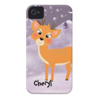 Cute Cartoon Baby Reindeer Snow Scene iPhone 4 Case-Mate Case