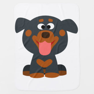Cute Cartoon Baby Rottweiler Baby Blanket
