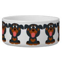 Cute Cartoon Baby Rottweiler Dog Bowl