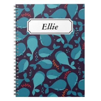 Cute cartoon baby whales marine pattern notebook
