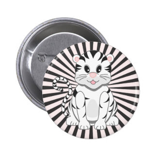 Cute Cartoon Baby White Tiger Cub Button