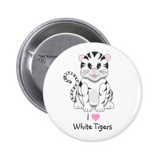 Cute Cartoon Baby White Tiger Cub Pinback Button