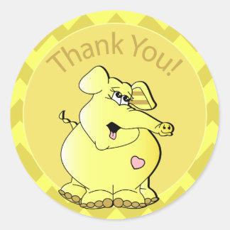 Cute Cartoon Baby Yellow Elephant - Thank You Classic Round Sticker
