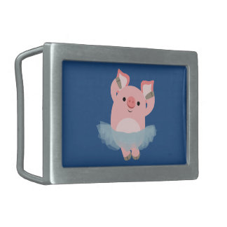 Cute Cartoon Ballerina Pig Belt Buckle