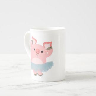 Cute Cartoon Ballerina Pig Bone China Mug