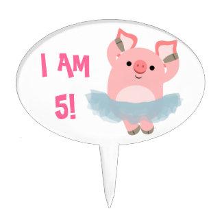 Cute Cartoon Ballerina Pig Cake Topper