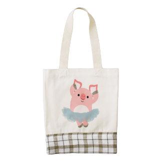 Cute Cartoon Ballerina Pig Heart Bag