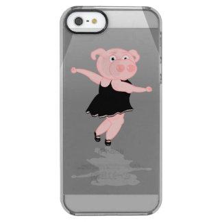 Cute Cartoon Ballet Dancing Pig Clear iPhone SE/5/5s Case