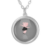 Cute Cartoon Ballet Dancing Pig Silver Plated Necklace