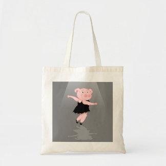 Cute Cartoon Ballet Dancing Pig Tote Bag
