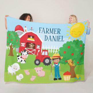 Cute Cartoon Barnyard Animals, Farmer, and Tractor Fleece Blanket