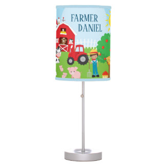 Cute Cartoon Barnyard Animals, Farmer, and Tractor Table Lamp