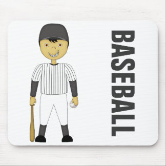 Cute Cartoon Baseball Player in Black & White Kit Mouse Pad