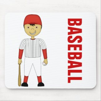 Cute Cartoon Baseball Player in Red & White Kit Mouse Pad