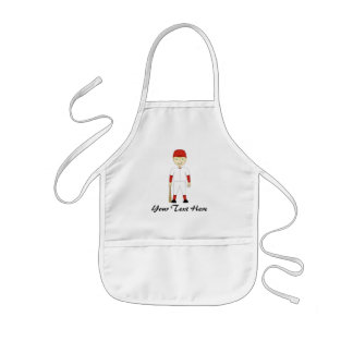 Cute Cartoon Baseball Player Red & White Uniform Kids' Apron