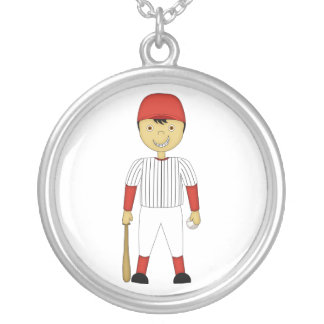 Cute Cartoon Baseball Player Red & White Uniform Round Pendant Necklace