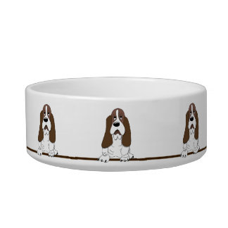 Cute Cartoon Basset Hound Dogs Pet Bowl Cat Food Bowls