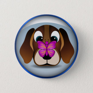Cute Cartoon Beagle Puppy Dog and Butterfly Round Pinback Button