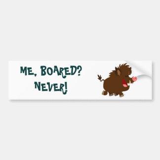 Cute Cartoon Beaming Wild Boar Bumper Sticker