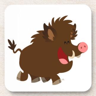 Cute Cartoon Beaming Wild Boar Coasters