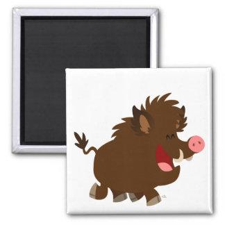 Cute Cartoon Beaming Wild Boar Magnet