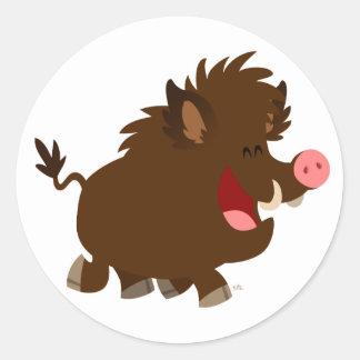 Cute Cartoon Beaming Wild Boar Sticker