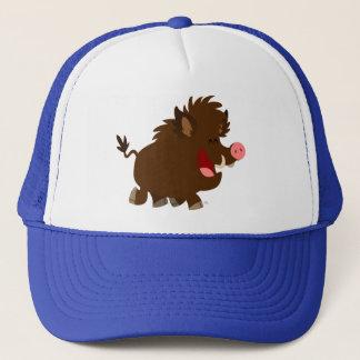 Cute Cartoon Beaming Wild Boar Trucker Hat