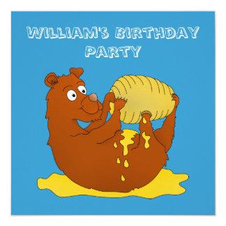 Cute Cartoon Bear Eating Honey 5.25x5.25 Square Paper Invitation Card