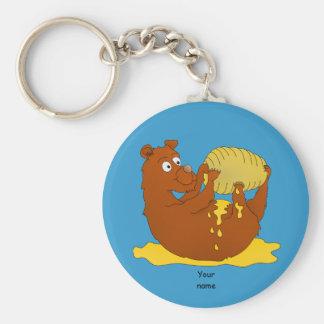 Cute Cartoon Bear Eating Honey Basic Round Button Keychain