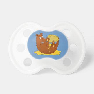 Cute Cartoon Bear Eating Honey Pacifier