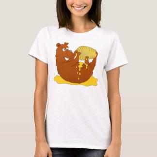 Cute Cartoon Bear Eating Honey T-Shirt