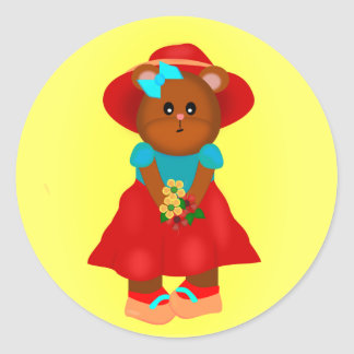 Cute Cartoon Bear in Dress & Hat Holding Flowers Classic Round Sticker
