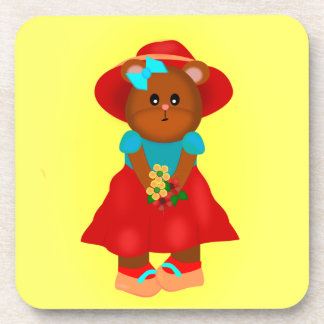 Cute Cartoon Bear in Dress & Hat Holding Flowers Drink Coaster