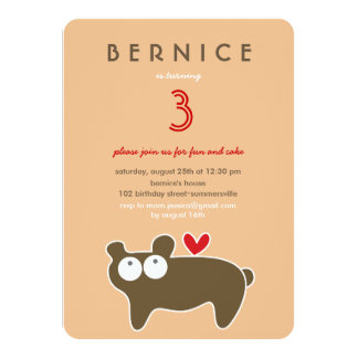 Cute Cartoon Bear Kids Girl Birthday Photo Invite