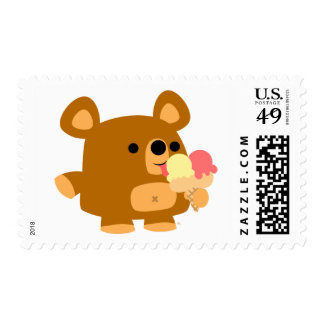 Cute Cartoon Bear with Balls :) postage stamp