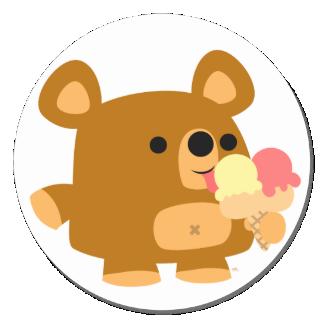 Cute Cartoon Bear with Balls :) round sticker