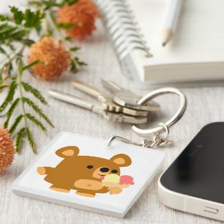 Cute Cartoon Bear with Ice Cream Acrylic Keychain
