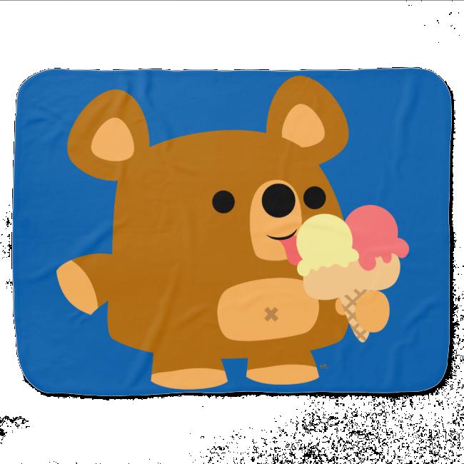 Cute Cartoon Bear with Ice Cream Baby Blanket