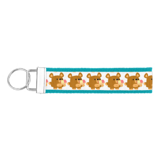 Cute Cartoon Bear with Ice Cream Bands Keychain Wrist Keychain