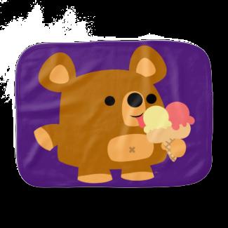 Cute Cartoon Bear with Ice Cream Burp Cloth