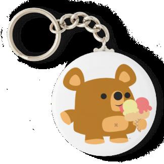 Cute Cartoon Bear with Ice Cream Keychain
