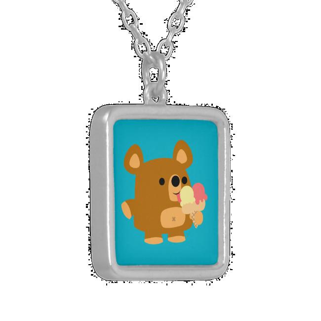 Cute Cartoon Bear with Ice Cream Necklace