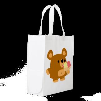 Cute Cartoon Bear with Ice Cream Reusable Bag Market Tote