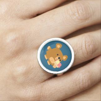 Cute Cartoon Bear with Ice Cream Ring