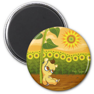 Cute Cartoon Bear with Sunflowers 2 Inch Round Magnet